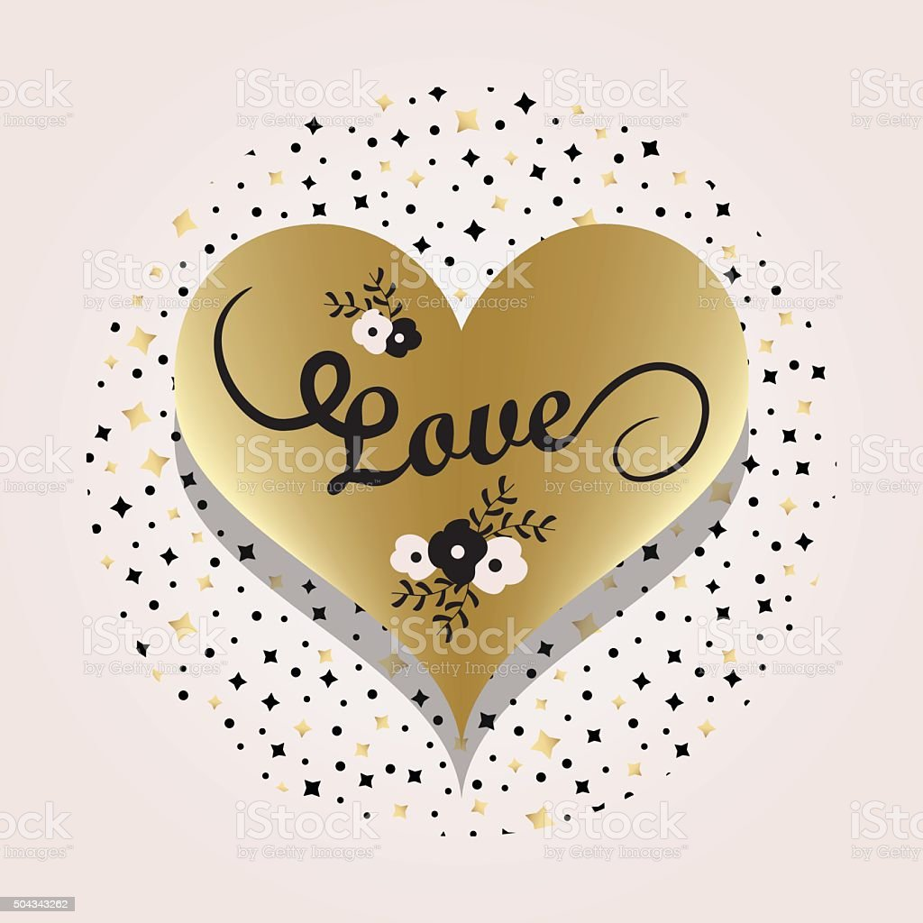 Golden heart label with word Love on circle star background vector art illustration