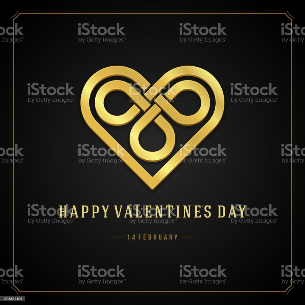 Golden Heart Valentines day Greeting Card vector background vector art illustration