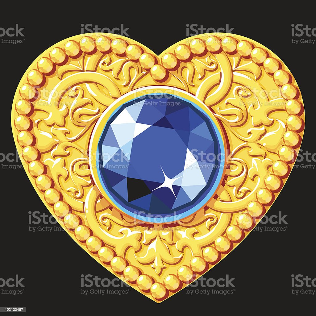 Golden Heart With A Blue Gemstone royalty-free stock vector art
