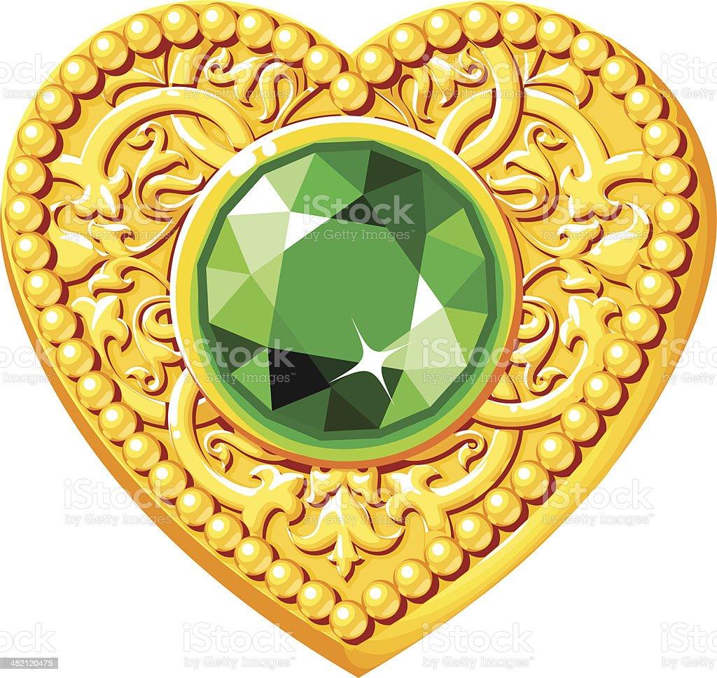 Golden Heart With A Green Gem royalty-free stock vector art