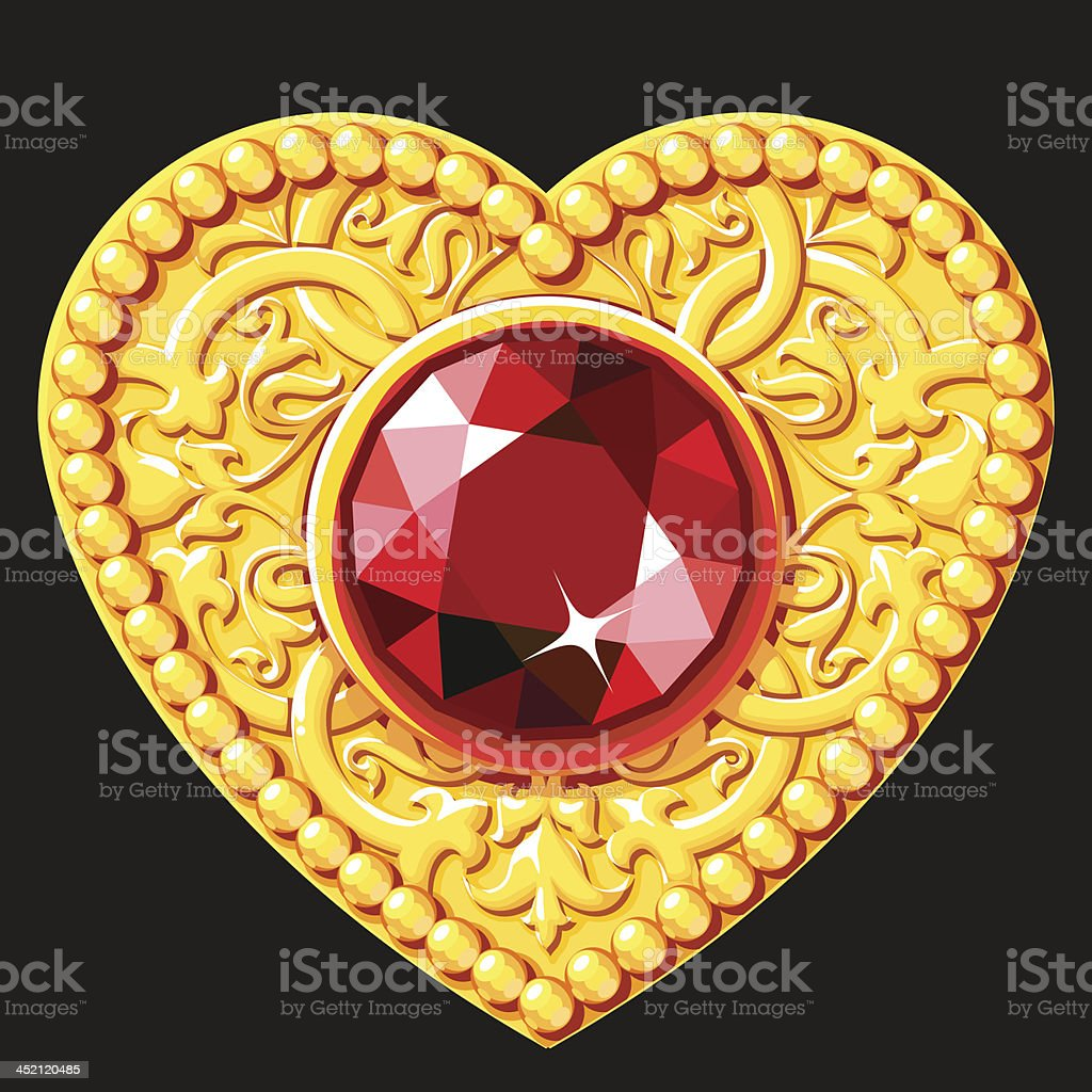Golden Heart With A Red Gemstone royalty-free stock vector art