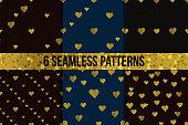 Golden  hearts seamless pattern set