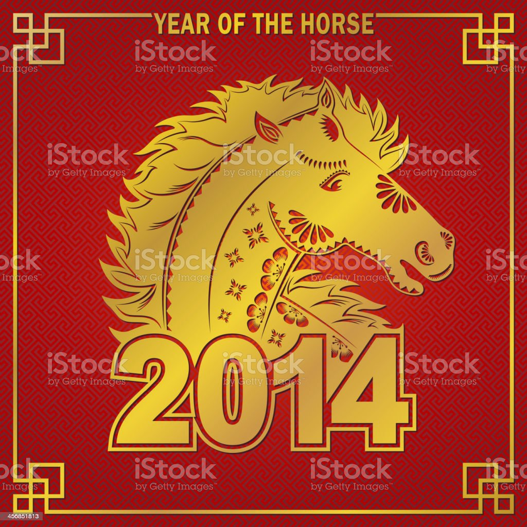 Golden Horse Symbol 2014 royalty-free stock vector art