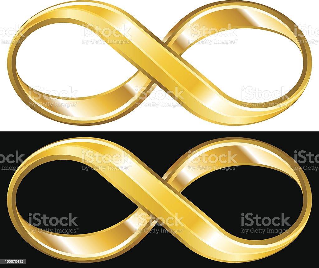 Golden infinity symbol vector art illustration