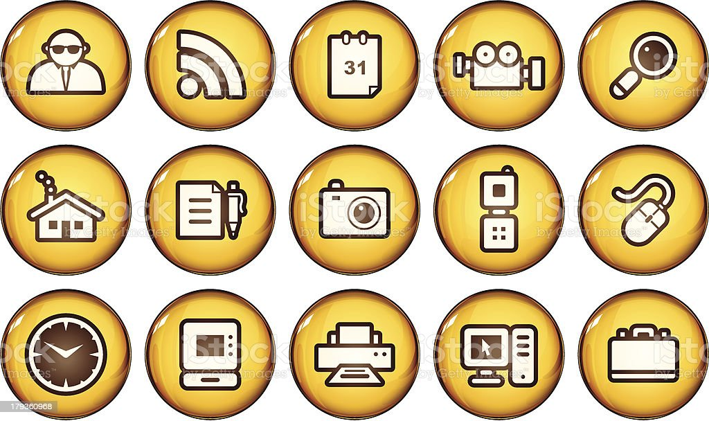 Golden Internet Icons royalty-free stock vector art