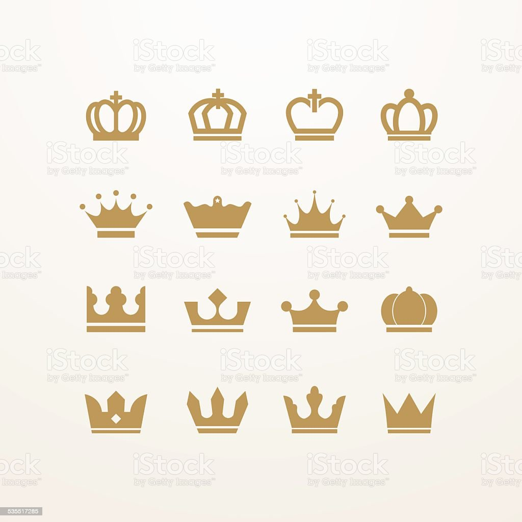 Golden isolated crown icons vector art illustration