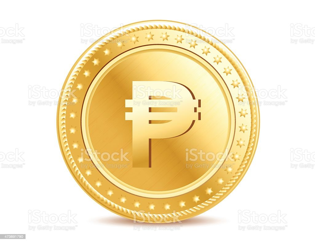 Golden isolated peso coin on the white background vector art illustration