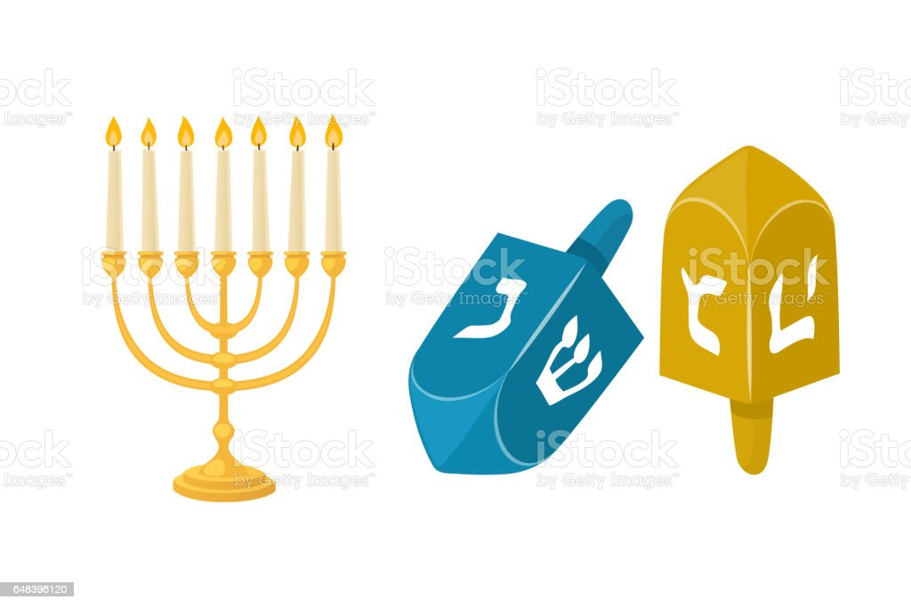Golden jew menorah with candles hebrew religion tradition decoration flame and candelabrum hanukkah orthodox judaism holiday vector illustration vector art illustration