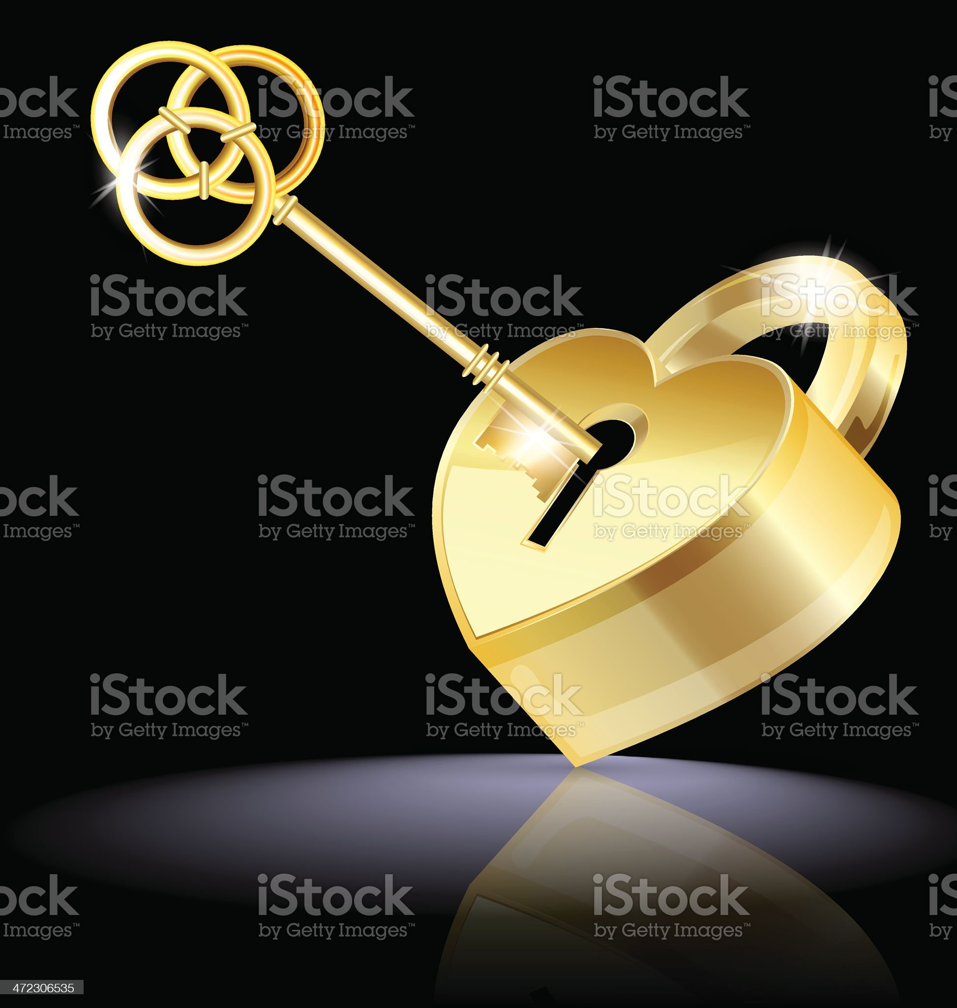 golden key and lock royalty-free stock vector art