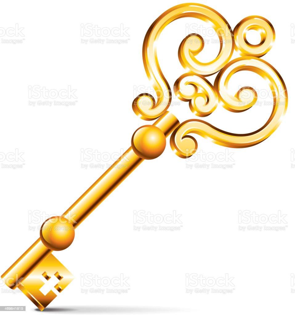 Golden key isolated on white vector vector art illustration