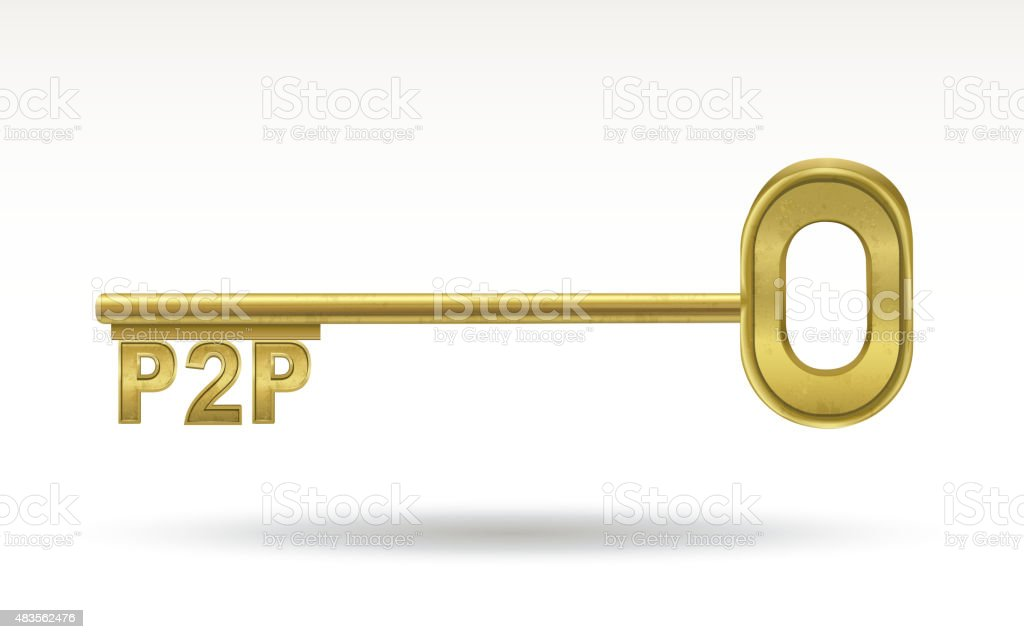 P2P - golden key vector art illustration