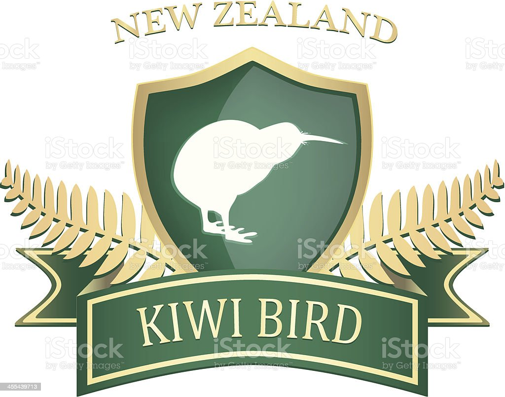 Golden Kiwi Shield vector art illustration