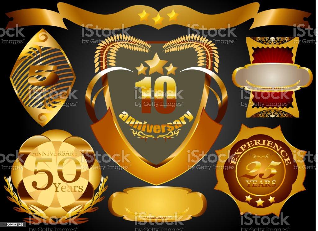 Golden label vector art illustration