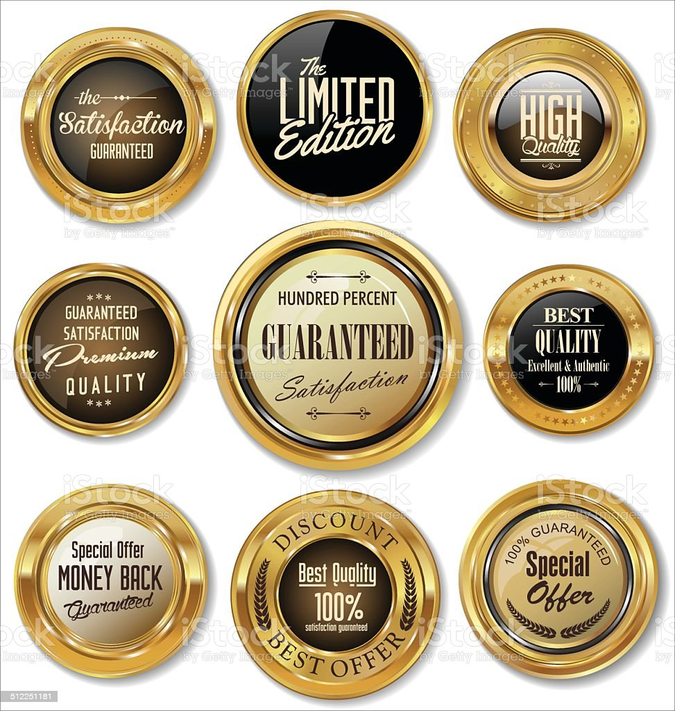 Golden labels collection vector art illustration