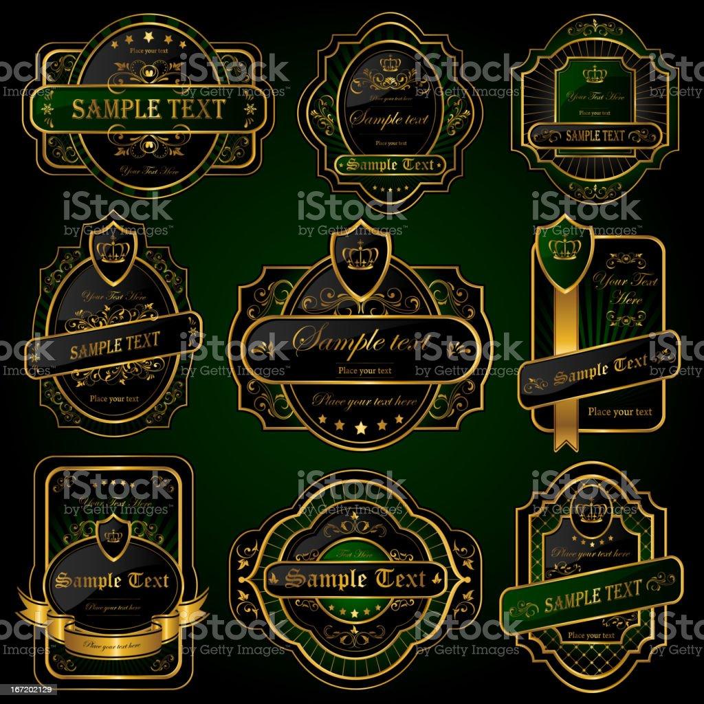 Golden labels royalty-free stock vector art