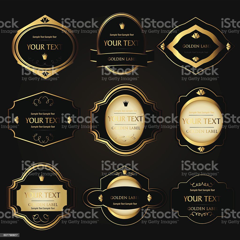 golden labels vector art illustration