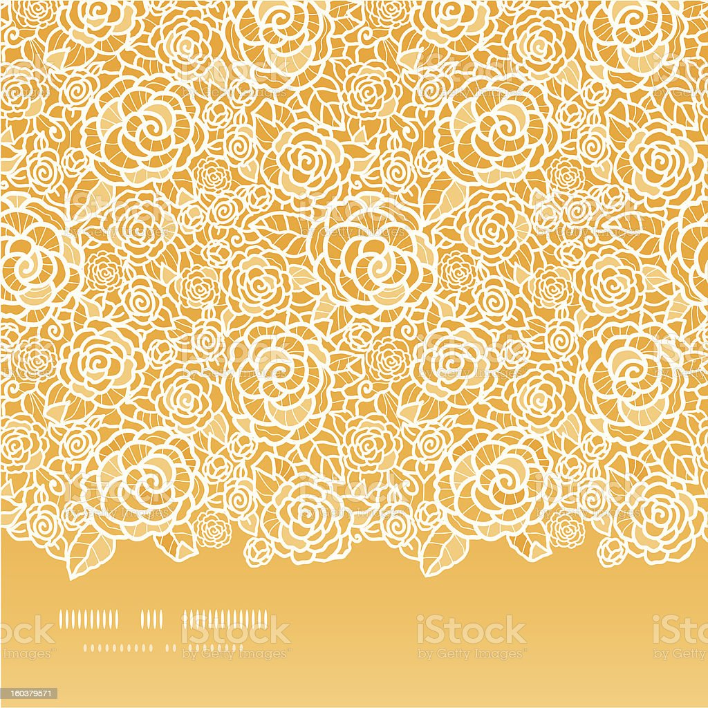 Golden lace roses horizontal seamless pattern background royalty-free stock vector art