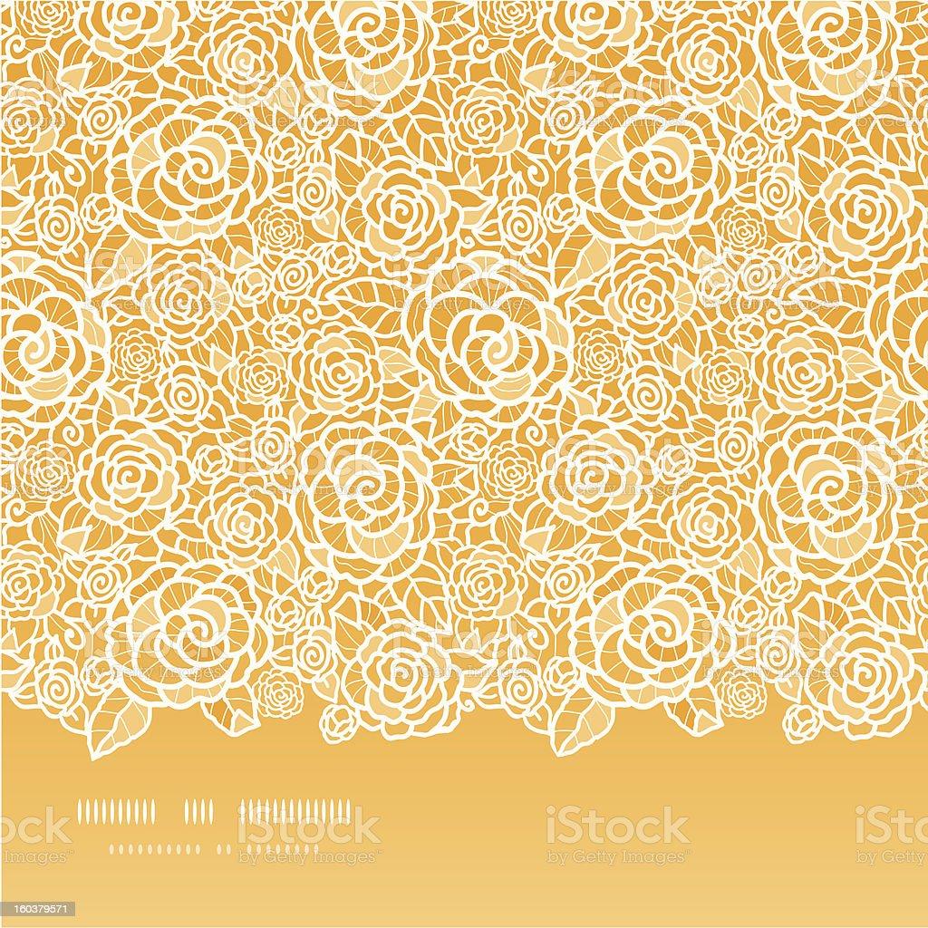 Golden lace roses horizontal seamless pattern background vector art illustration
