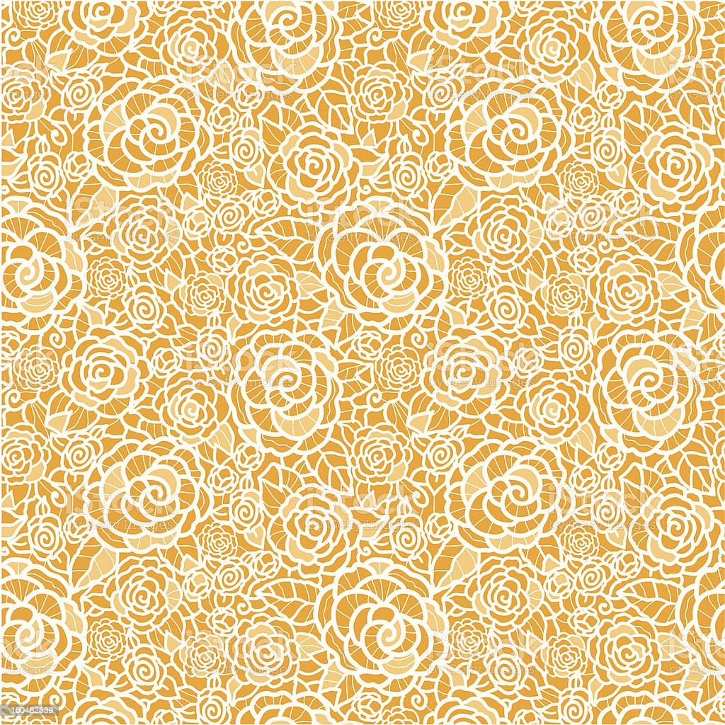 Golden lace roses seamless pattern background vector art illustration