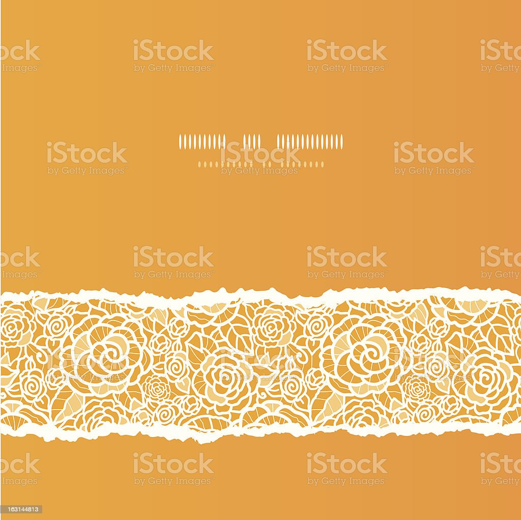 Golden lace roses torn square seamless pattern background royalty-free stock vector art