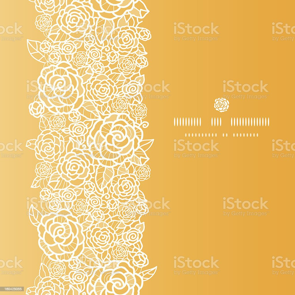 Golden lace roses vertical seamless pattern background royalty-free stock vector art