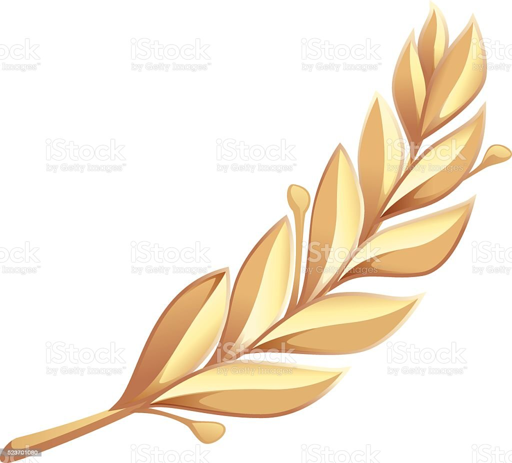 Golden laurel branch vector art illustration