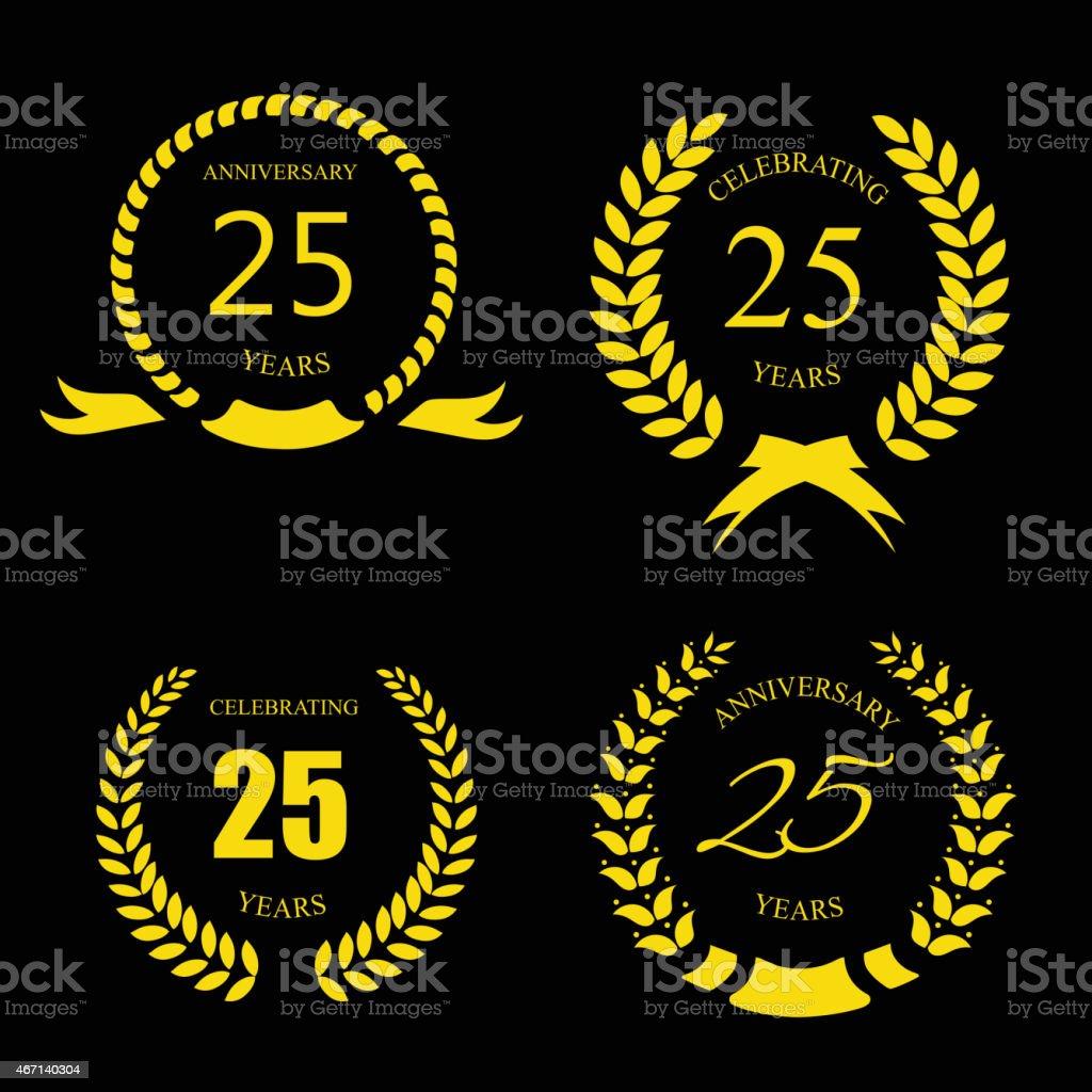 Golden laurel wreath 25 years set -   jubilee,  twenty five vector art illustration