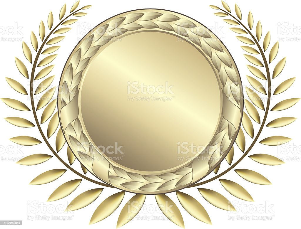 Golden laurel wreath with medal royalty-free stock vector art