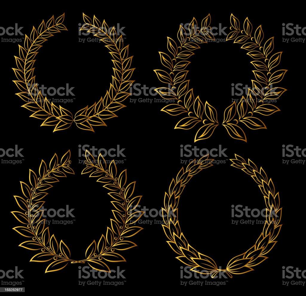Golden laurel wreaths royalty-free stock vector art
