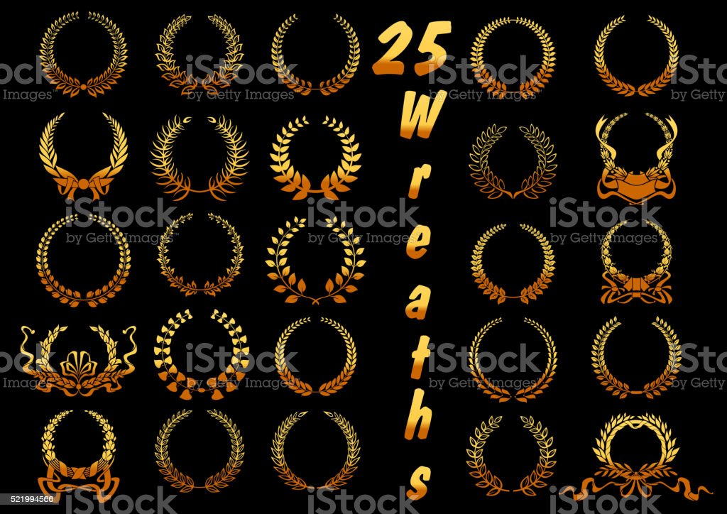 Golden laurel wreaths with ribbons and bows icons vector art illustration