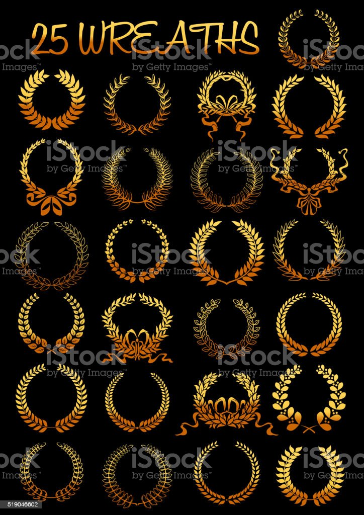 Golden laurel wreaths with ribbons vector art illustration