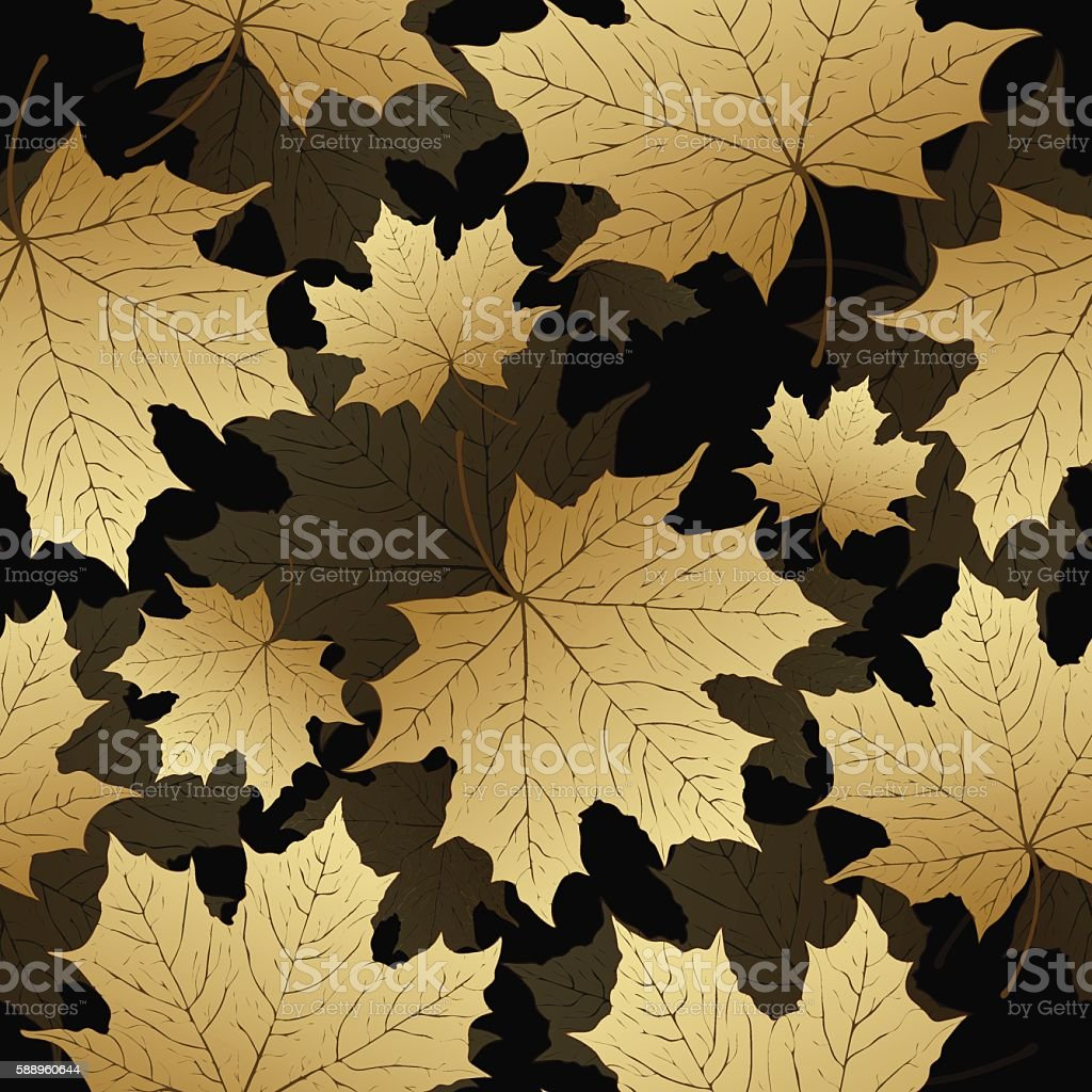Golden leaves, seamless pattern, vector background.  maple  on a black royalty-free stock vector art