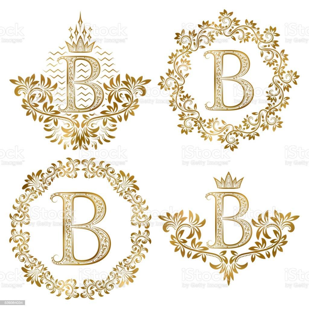 Golden letter B vintage monograms set vector art illustration