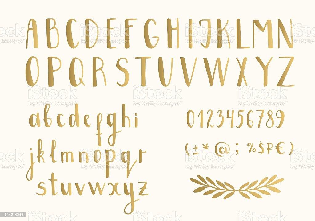 Golden letters vector art illustration