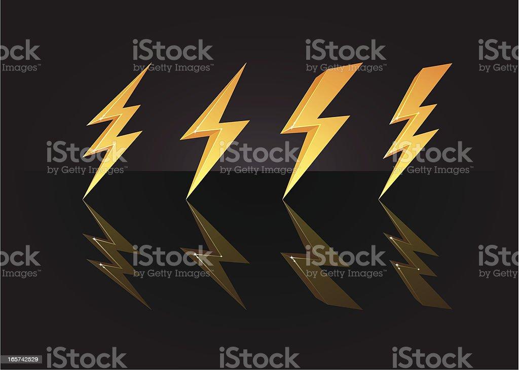 3D golden lightning bolts royalty-free stock vector art