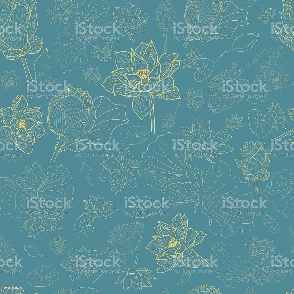 Golden line lotus flowers pattern background on blue vector art illustration