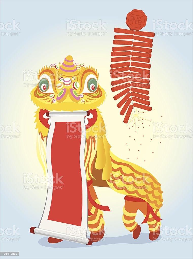Golden Lion Dancing vector art illustration