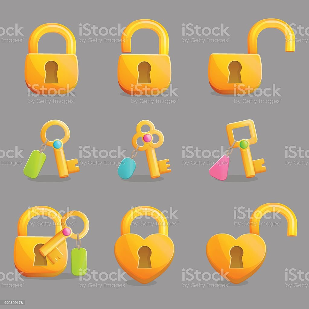 Golden locks and keys with charms vector art illustration