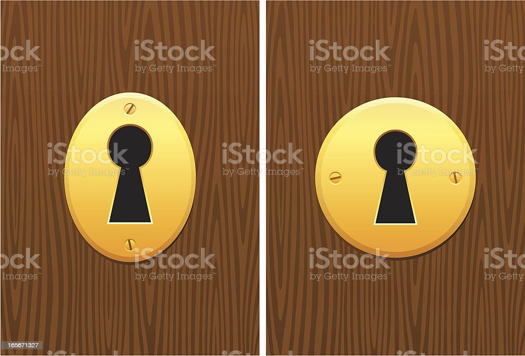 Golden locks with keyhole on dark wood grain texture royalty-free stock vector art