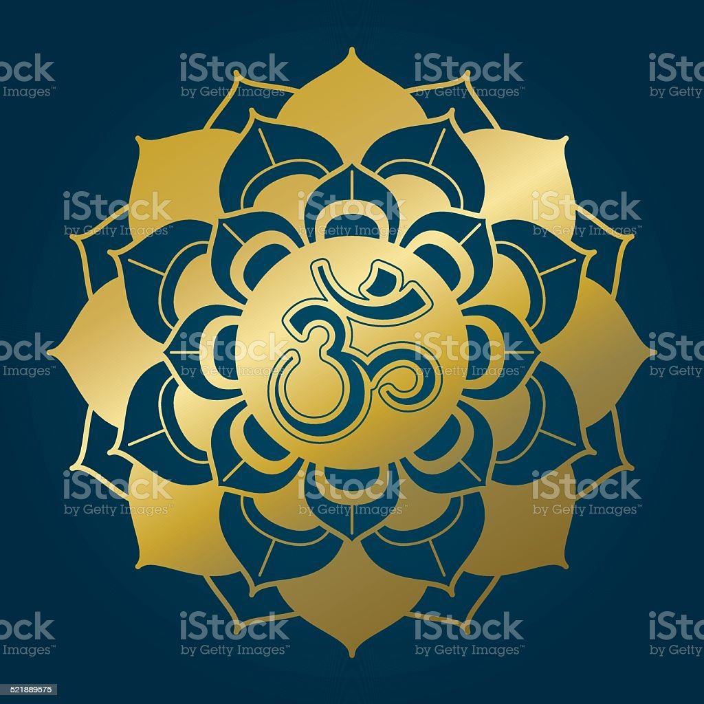 Golden lotus mandala with Om syllable vector art illustration