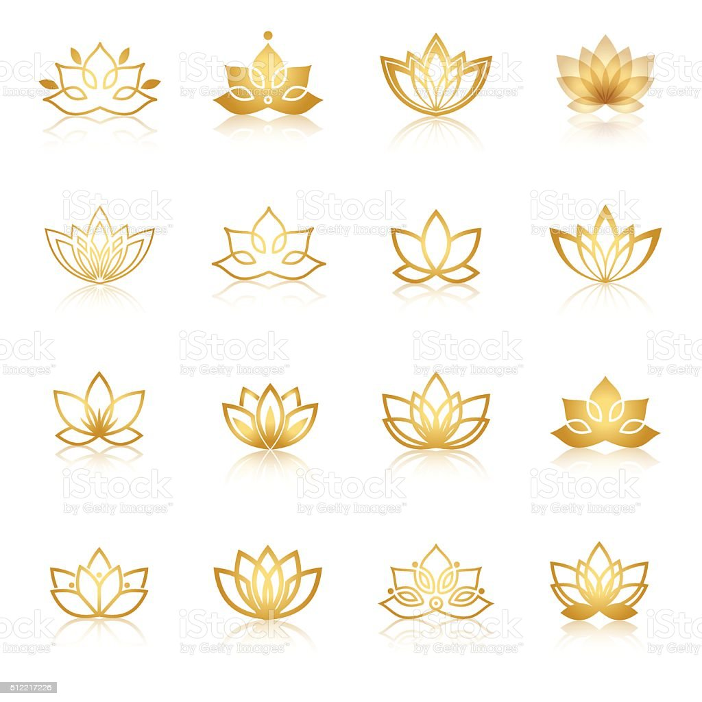 Golden Lotus symbol icons. Vector floral labels for Wellness industry vector art illustration