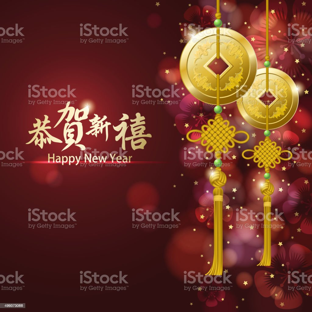 Golden lucky coins in front of the background vector art illustration