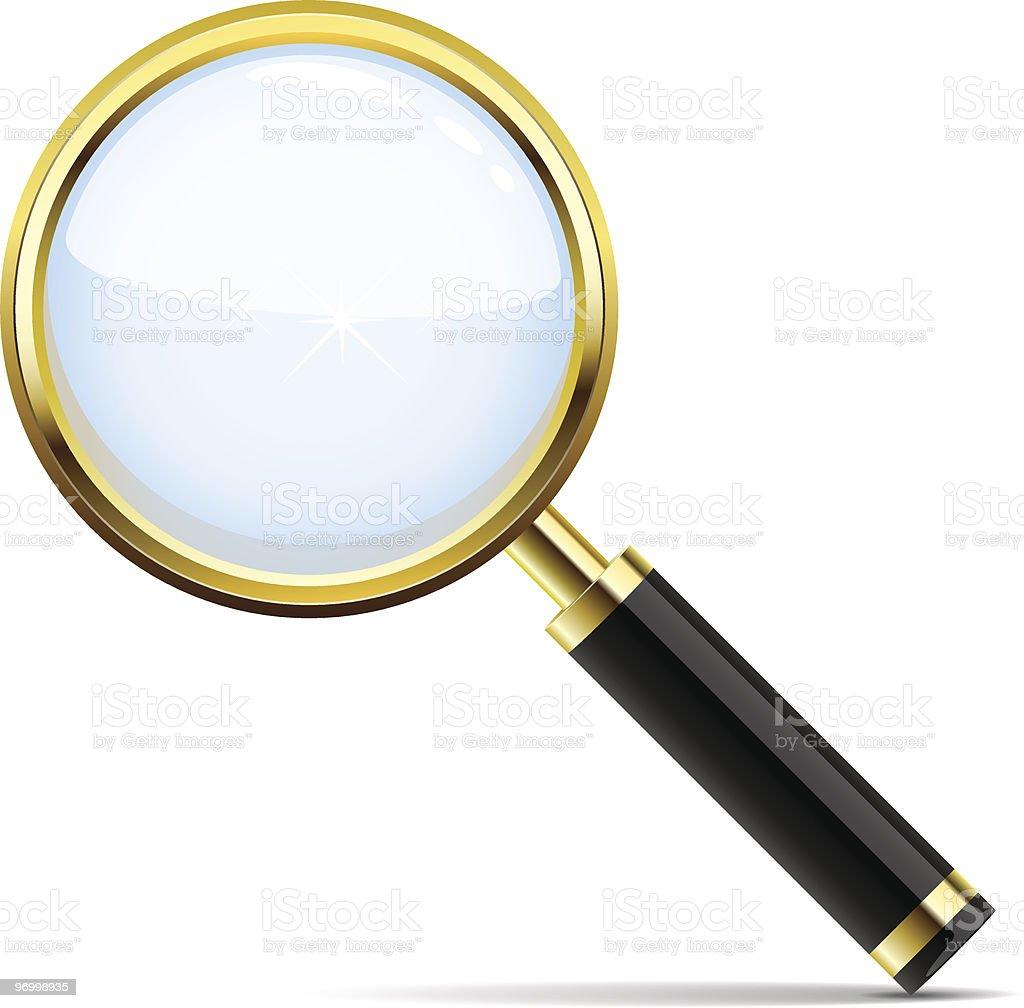 Golden magnifying glass royalty-free stock vector art