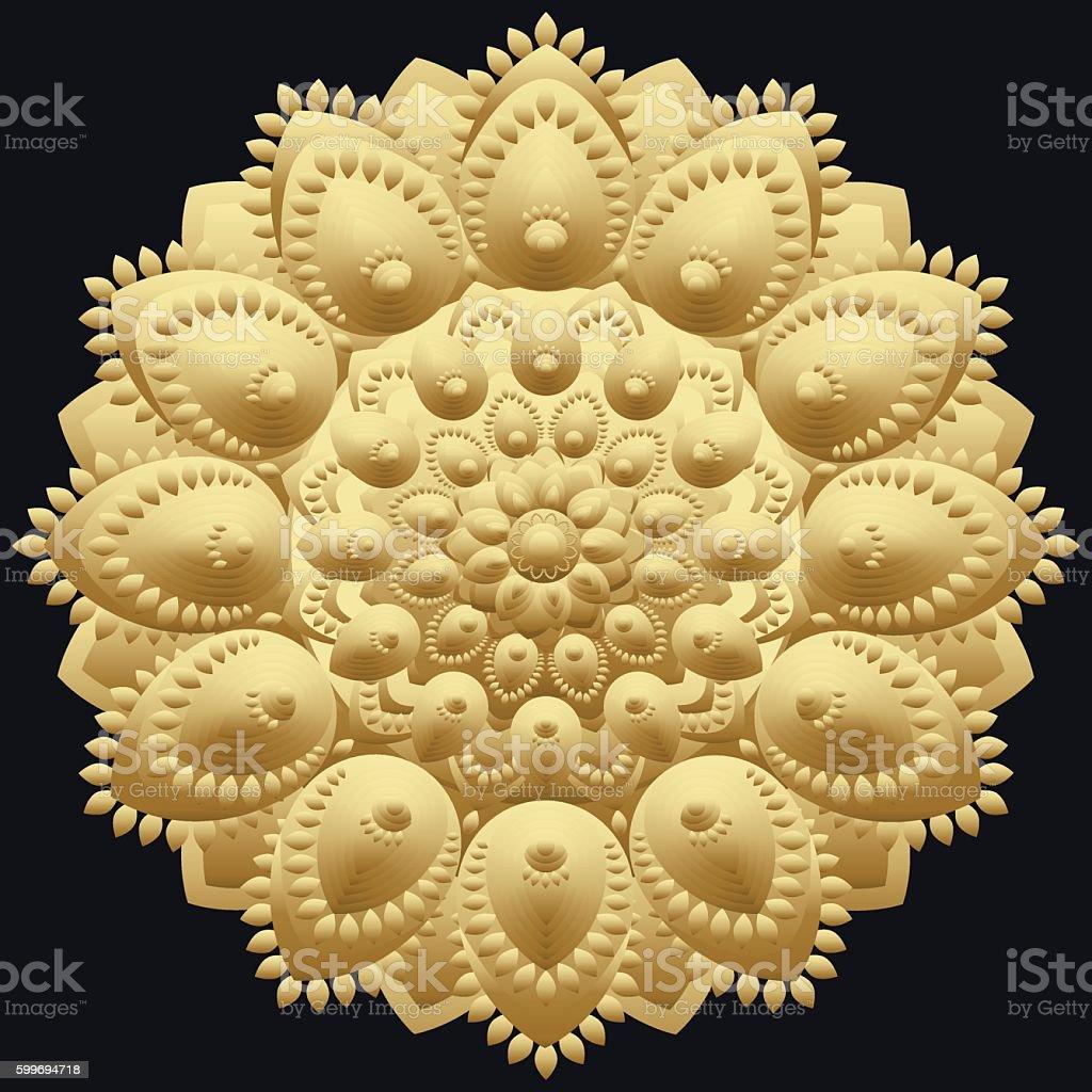 Golden mandala. East, ethnic design, oriental pattern vector art illustration