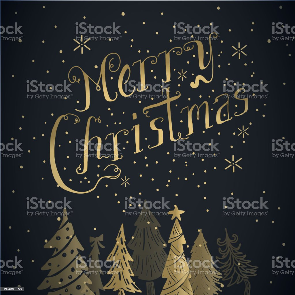 Golden Merry Christmas greeting design with hand drawn elements vector art illustration