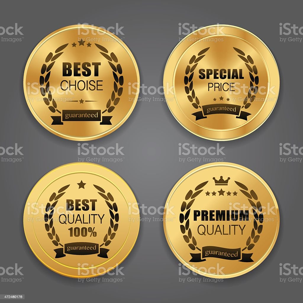 Golden metal badges vector art illustration