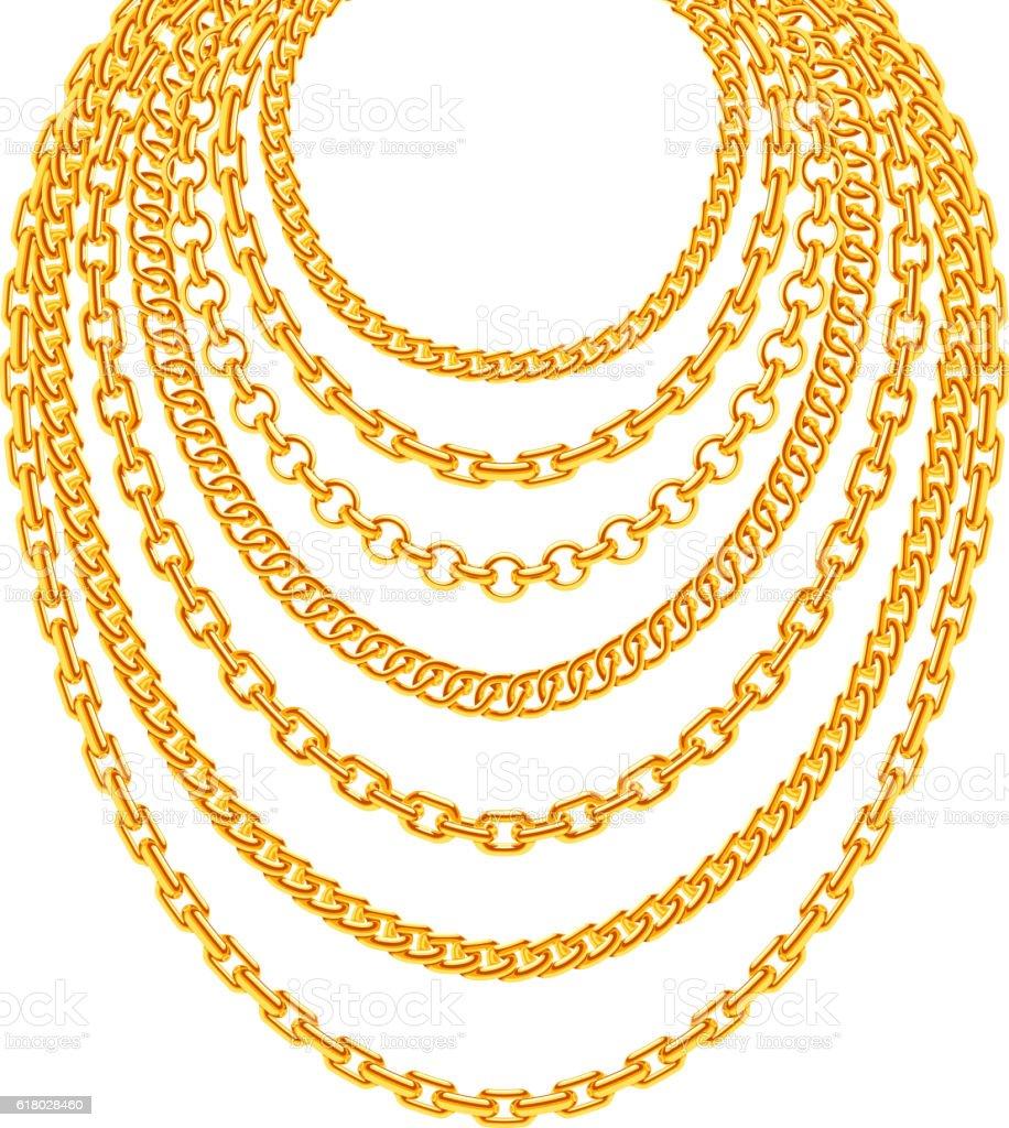 Golden metallic chain necklaces vector set vector art illustration