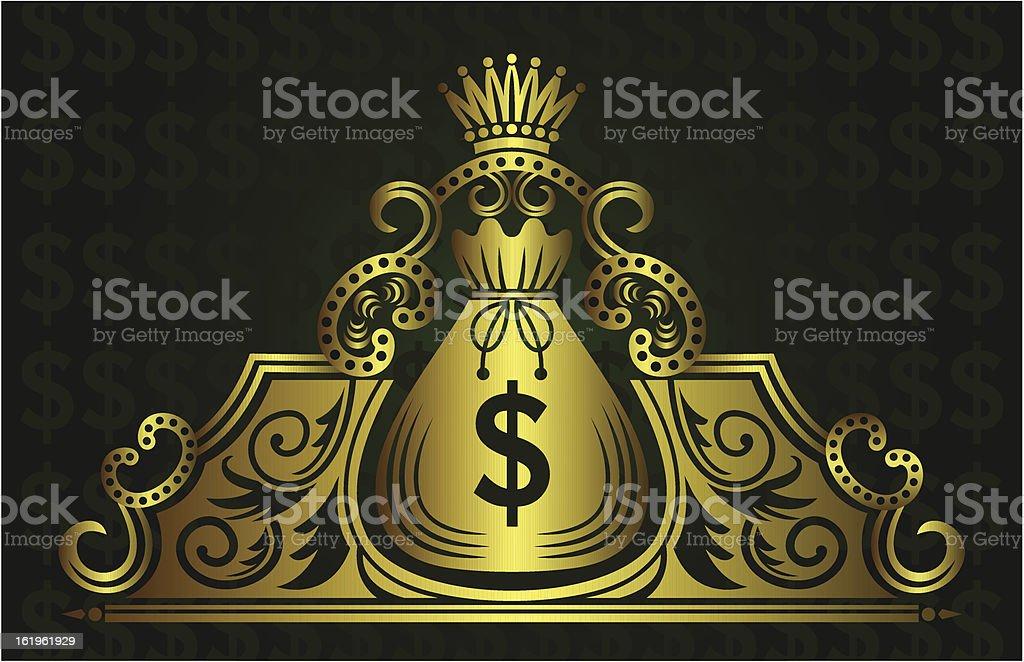 Golden money bag with crown royalty-free stock vector art