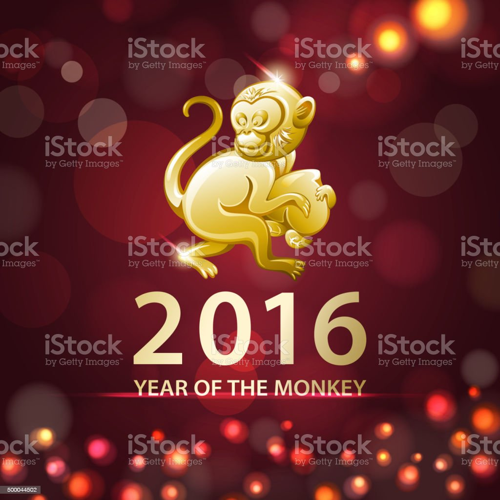 Golden monkey for the year of the monkey 2016 vector art illustration