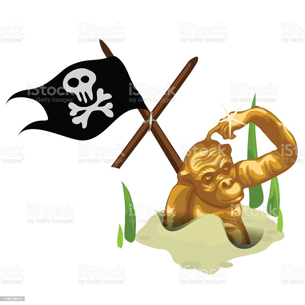 Golden monkey in sand and mast with pirate flag vector art illustration